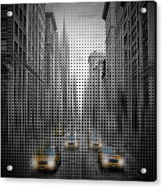 Graphic Art Nyc 5th Avenue Yellow Cabs II Acrylic Print by Melanie Viola