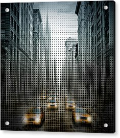 Graphic Art Nyc 5th Avenue Yellow Cabs V Acrylic Print by Melanie Viola