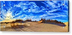Grassy Dunes At Sandhills Sp Acrylic Print by ABeautifulSky Photography