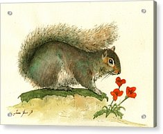 Gray Squirrel Flowers Acrylic Print by Juan Bosco