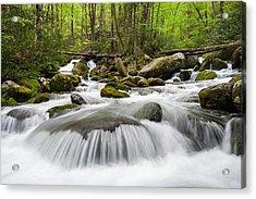 Great Smoky Mountain Roaring Fork Spring Cascade Acrylic Print by Mark VanDyke