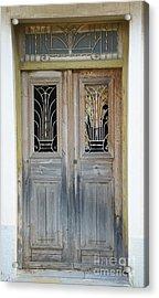 Greek Door With Wrought Iron Window Acrylic Print by Maria Varnalis