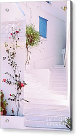 Greek Stairway With Roses Acrylic Print by Silvia Ganora