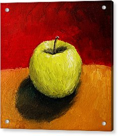 Green Apple With Red And Gold Acrylic Print by Michelle Calkins