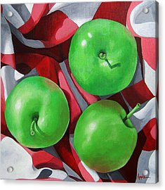 Green Apples Still Life Painting Acrylic Print by Linda Apple