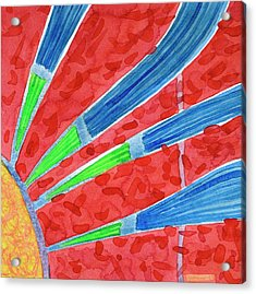 Green Aund Blue Sun Rays Acrylic Print by Heidi Capitaine