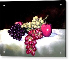 Green Bowl With Fruit Acrylic Print by Mahto Hogue