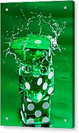 Green Dice Splash Acrylic Print by Steve Gadomski