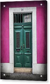 Green Door In Lisbon Acrylic Print by Carol Japp