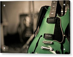 Green Electric Guitar With Blurry Background Acrylic Print by Sean Molin - www.seanmolin.com