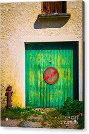 Green Garage Door Acrylic Print by Silvia Ganora