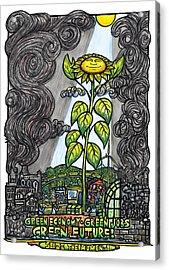 Green Jobs Acrylic Print by Ricardo Levins Morales