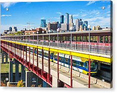 Green Line Light Rail In Minneapolis Acrylic Print by Jim Hughes