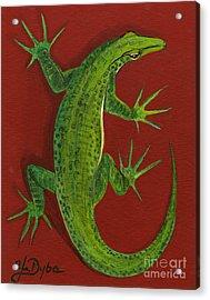 Green Lizard Acrylic Print by Anna Folkartanna Maciejewska-Dyba