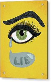 Green Lying Eye With Tears Acrylic Print by Boriana Giormova