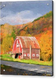 Green Mountains Barn Acrylic Print by Betty LaRue