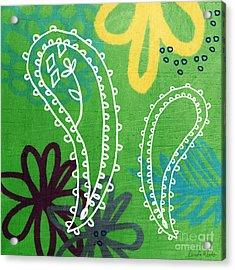 Green Paisley Garden Acrylic Print by Linda Woods