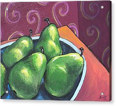 Green Pears In A Bowl Acrylic Print by Sarah Crumpler