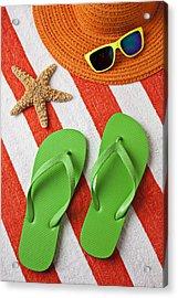 Green Sandals On Beach Towel Acrylic Print by Garry Gay