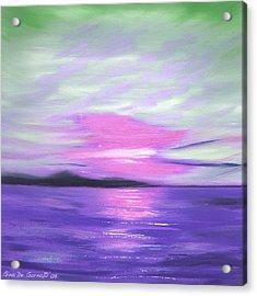 Green Skies And Purple Seas Sunset Acrylic Print by Gina De Gorna