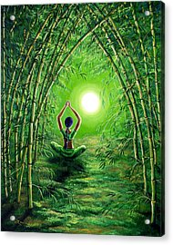Green Tara In The Hall Of Bamboo Acrylic Print by Laura Iverson