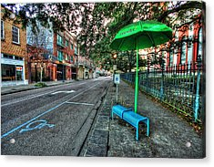 Green Umbrella Bus Stop Acrylic Print by Michael Thomas