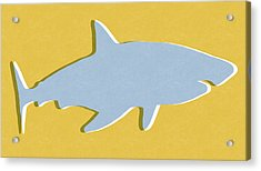 Grey And Yellow Shark Acrylic Print by Linda Woods