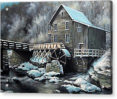 Grist Mill Acrylic Print by Mike Worthen