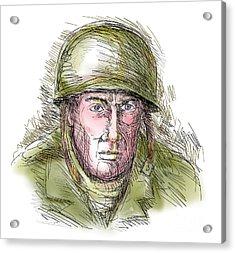 Gritty World War Two Soldier Acrylic Print by Aloysius Patrimonio
