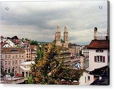 Grossmuenster Church Zurich Switzerland Acrylic Print by Susanne Van Hulst