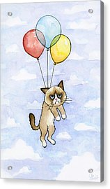 Grumpy Cat And Balloons Acrylic Print by Olga Shvartsur