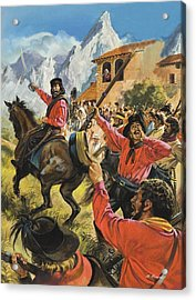 Guiseppe Garibaldi And His Army In The Battle With The Neopolitan Royal Troops Acrylic Print by Andrew Howat