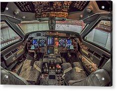 Gulfstream Cockpit Acrylic Print by Guy Whiteley