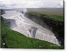 Gullfoss A Powerful Waterfall In The Canyon Of The Hvita River Acrylic Print by Sami Sarkis