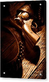 Gunslinger Tool - Sepia Acrylic Print by Olivier Le Queinec
