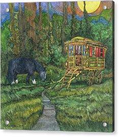 Gwendolyn's Wagon Acrylic Print by Casey Rasmussen White