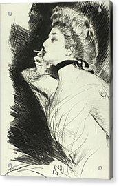 Half Length Portrait Of A Seated Woman, Smoking A Cigarette, Facing Left Acrylic Print by Paul Helleu