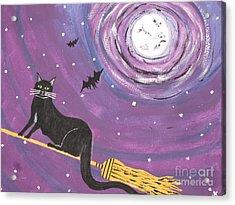 Halloween Flying  Black Cat Acrylic Print by Jeffrey Koss