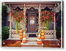 Halloween In A Small Town Acrylic Print by Mary Machare