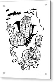 Halloween Ink Coloring Book Image Acrylic Print by Robin Maria  Pedrero