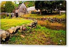 Hammond Gristmill Rhode Island - Colored Version Acrylic Print by Lourry Legarde