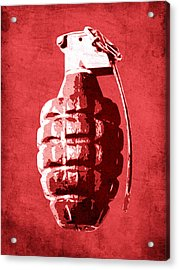 Hand Grenade On Red Acrylic Print by Michael Tompsett