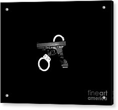 Handgun And Handcuffs .png Acrylic Print by Al Powell Photography USA