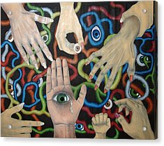 Hands And Eyes Acrylic Print by Nancy Mueller