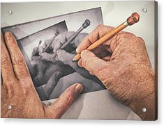 Hands Drawing Hands Acrylic Print by Scott Norris