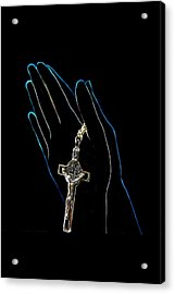 Hands In Prayer Acrylic Print by Art Spectrum