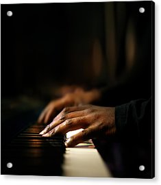 Hands Playing Piano Close-up Acrylic Print by Johan Swanepoel