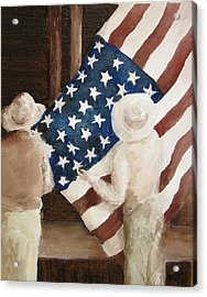 Hanging The Flag - 1 Acrylic Print by Frieda Bruck
