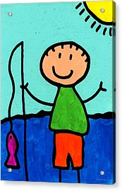 Happi Arte 2 - Boy Fish Art Acrylic Print by Sharon Cummings