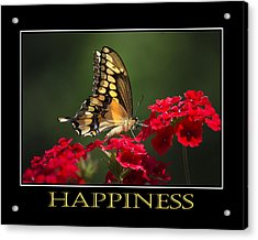 Happiness Inspirational Poster Art Acrylic Print by Christina Rollo